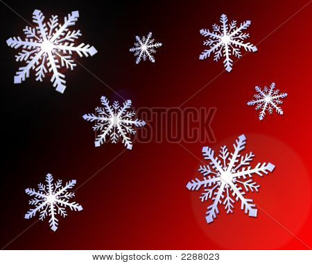 Snowflakes Red & Black Gradient Background