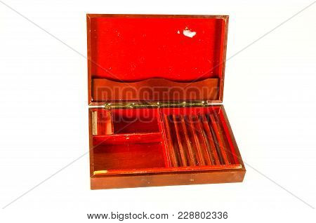 Close-up Of Vintage Wooden Box Object On A White Background