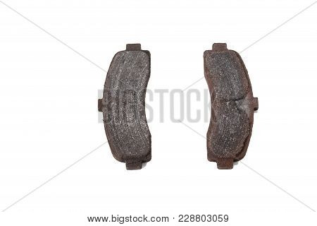 Worn Pads Of Disk Brakes. Isolated On The White Background.