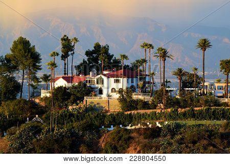 February 27, 2018 In Hacienda Heights, Ca:  Hacienda Villa On A Hillside Overlooking The Nearby Land
