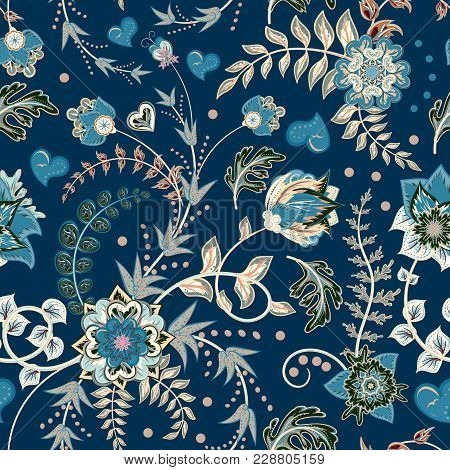 Seamless Floral Background. Tracery Handmade Nature Ethnic Fabric Backdrop Pattern With Flowers. Blu