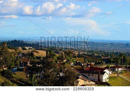 Residential Neighborhood On A Hillside Overlooking The Los Angeles Area Taken In The Whittier Hills,