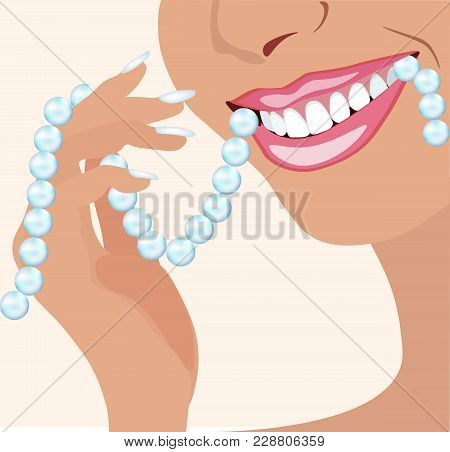 Vector Face Of Girl And Smile With Ideal Teeth And A Pearl Necklace For Dental Cosmetalogical And St