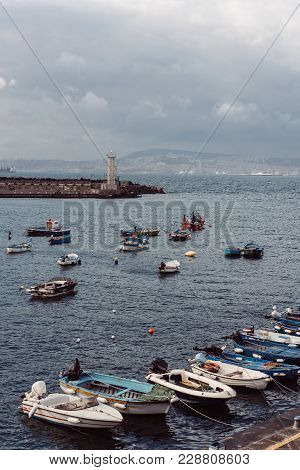 Berth With Boats In The Town On Sea Shore