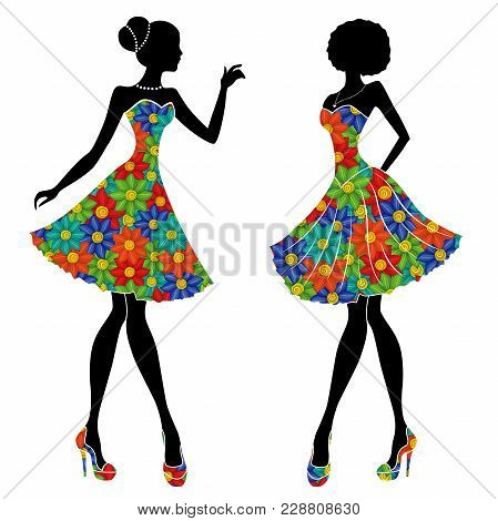Graceful Stylish Young Models In Short Dresses With Motley Multicolor Flowers, Vector Stencils Isola
