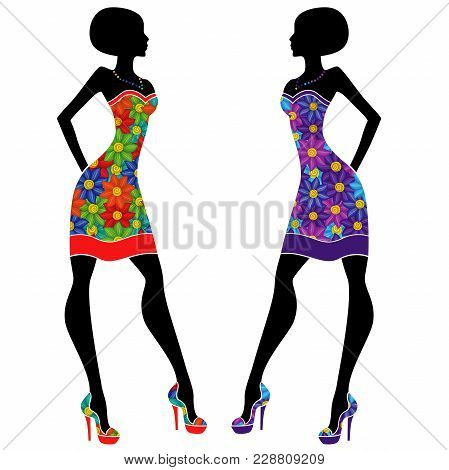 Graceful Stylish Young Ladies In Short Dresses With Motley Multicolor Flowers, Vector Stencils Isola