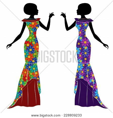 Graceful Stylish Young Ladies In Long Gown With Motley Multicolor Flowers, Vector Stencils Isolated