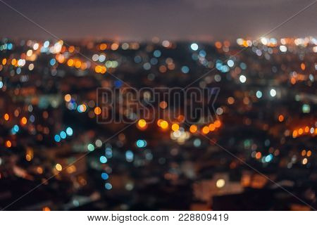 City Night From Top View Out Of Focus