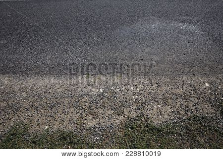 Asphalt Roadside And Ground. Abstract Background And Texture.