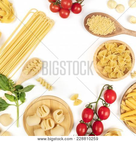Overhead Square Photo Of Different Types Of Pasta, Including Spaghetti, Penne, Fusilli, Shot From Ab