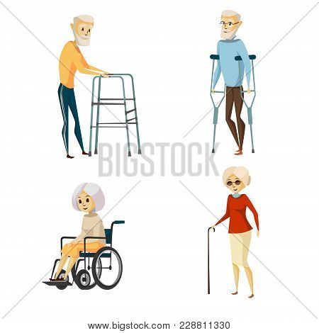 Vector Cartoon Disabled Senior Characters With Restriction Of Movement Using Medical Equipment Set.