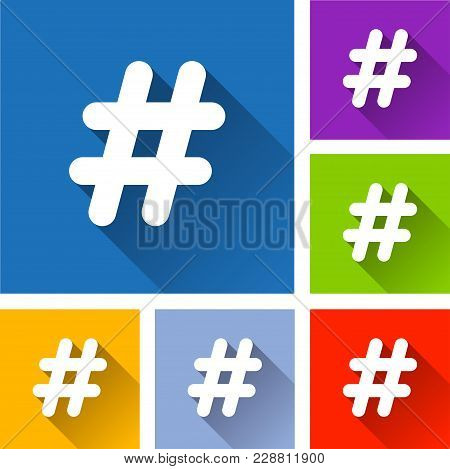 Illustration Of Hashtag Icons With Long Shadow