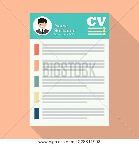 Curriculum Vitae Or Cv Application Paper Sheet. Flat Style Vector Illustration