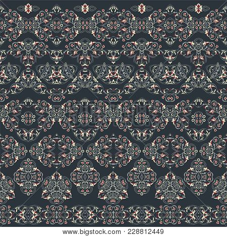 Seamless Arabic Patterns For Border. Repeated Oriental Motif For Fabric Or Paper Design. Arabic Patt