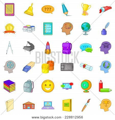 Online Knowledge Icons Set. Cartoon Set Of 36 Online Knowledge Vector Icons For Web Isolated On Whit