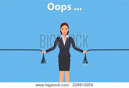 Error Page Illustration. Woman Holding Unplugged Cable. Page Not Found. Vector Illustration In Flat