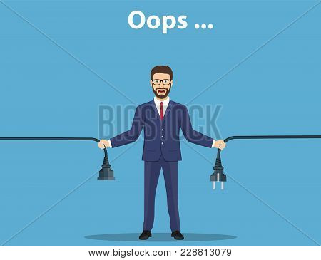 Error Page. Man Holding Unplugged Cable. Page Not Found. Vector Illustration In Flat Style
