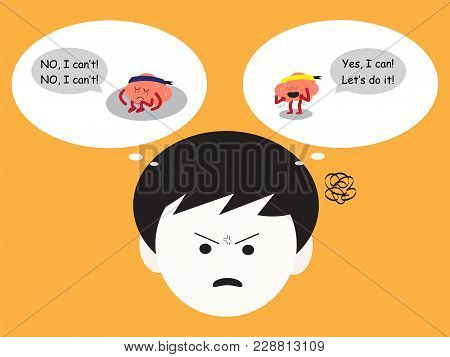 Brain Cartoon Characters Vector Illustration Image Showing How Man Has Confused Emotion When Brains