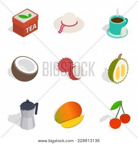 Teatime Icons Set. Isometric Set Of 9 Teatime Vector Icons For Web Isolated On White Background