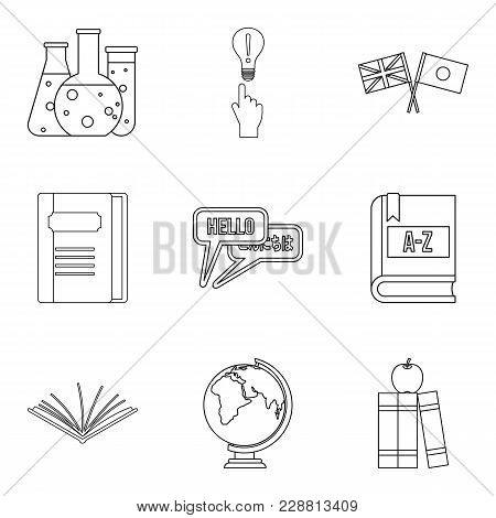 Teaching Activity Icons Set. Outline Set Of 9 Teaching Activity Vector Icons For Web Isolated On Whi