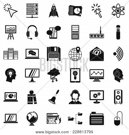 Interactive Icons Set. Simple Set Of 36 Interactive Vector Icons For Web Isolated On White Backgroun