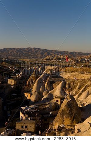 People Gather On The Observation Deck To Watch The Sunset. Goreme, Turkey.