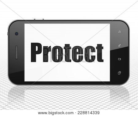 Safety Concept: Smartphone With Black Text Protect On Display, 3d Rendering