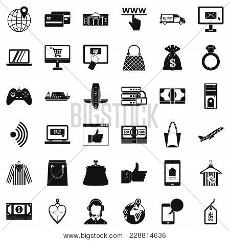 Net Shopping Icons Set. Simple Set Of 36 Net Shopping Vector Icons For Web Isolated On White Backgro