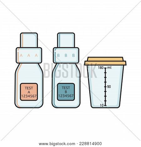 Empty Bottle A, B And Urine Sample Collection Vessel For Doping Control Procedure, Flat Vector Illus