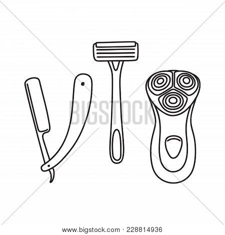 Set Of Safety, Open Blade And Electric Razor, Shaving Tools, Line Art, Drawing, Vector Illustration