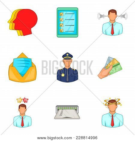 Detachment Icons Set. Cartoon Set Of 9 Detachment Vector Icons For Web Isolated On White Background