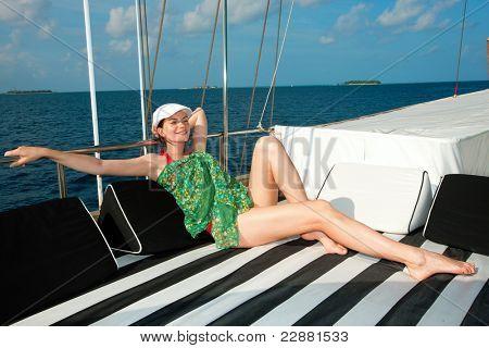 beautiful woman on Yacht