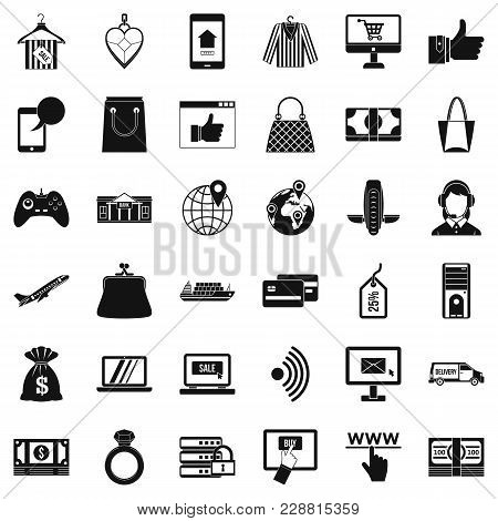 Inet Purchase Icons Set. Simple Set Of 36 Inet Purchase Vector Icons For Web Isolated On White Backg