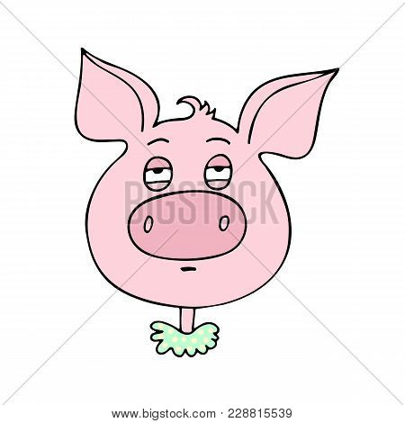 The Cute Pig Has An Expression Of Boredom And Fatigue. Vector Illustration Of Cartoon Style