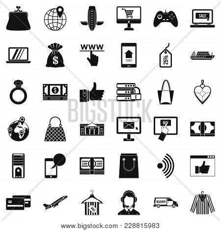 Online Dialog Icons Set. Simple Set Of 36 Online Dialog Vector Icons For Web Isolated On White Backg
