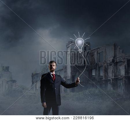 Businessman Standing Over Apocalyptic Background. Crisis, Default, Setback Concept