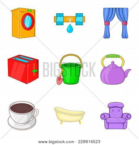 Pour Icons Set. Cartoon Set Of 9 Pour Vector Icons For Web Isolated On White Background