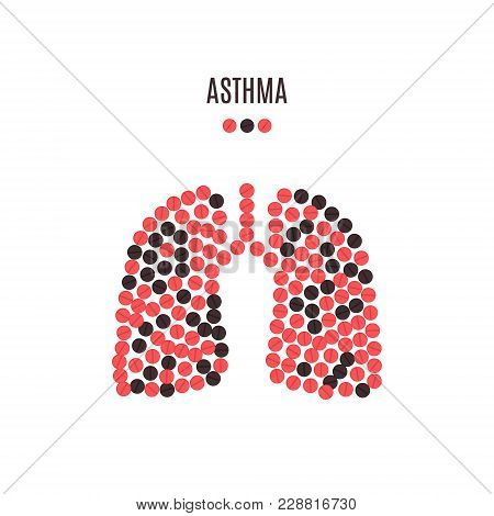 Asthma Awareness Poster With Lungs Made Of Red And Black Pills On White Background. Pulmonary Diseas