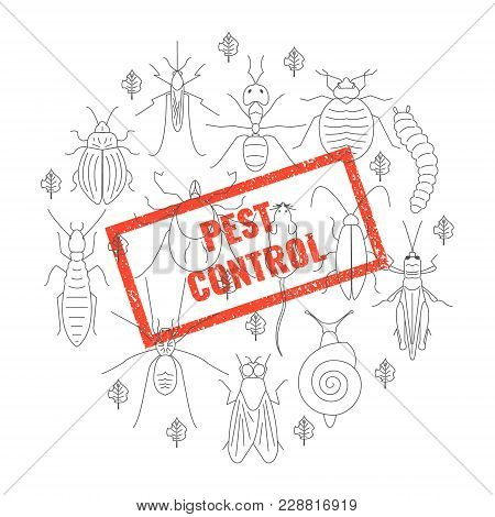 Pest Control Red Stamp Over Set Of  Insects And Damaged Leaves On White Background. Parasitic Beetle