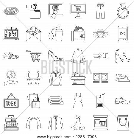 Online Buying Icons Set. Outline Set Of 36 Online Buying Vector Icons For Web Isolated On White Back