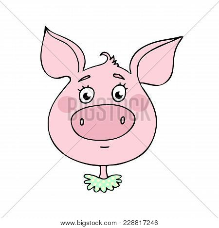 The Cute Pig Has A Neutral Expression. Vector Illustration Of Cartoon Style