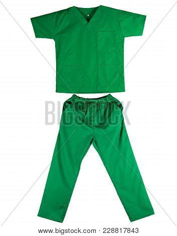 Green Scrubs Uniform Isolated On White Background. Green Shirt And Pants For Veterinarian, Doctor Or