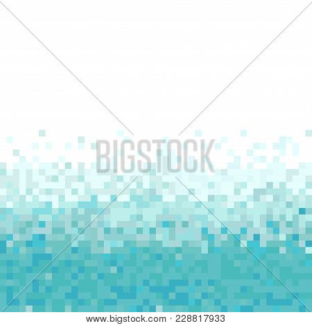 Turquoise Abstract Pixel Background. Abstract Digital Background With Mesh Of Squares. Geometric Sty