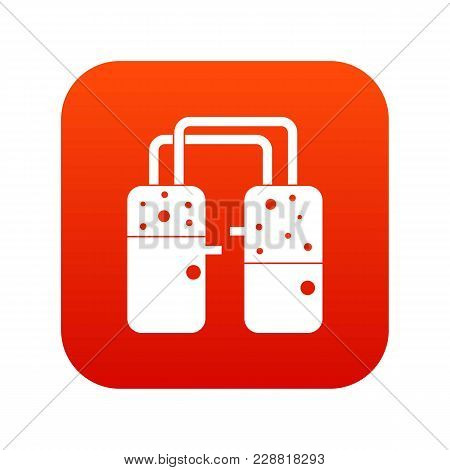 Containers Connected With Tubes Icon Digital Red For Any Design Isolated On White Vector Illustratio