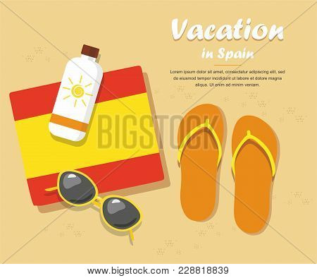 Spain Tourism. Flip- Flops In The Sand With Towel, Sun Glasses And Cream From Tan
