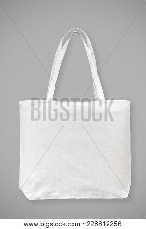 Tote Bag Canvas White Cotton Fabric Cloth Eco Shopping Sack Mockup Blank Template Isolated On Grey B