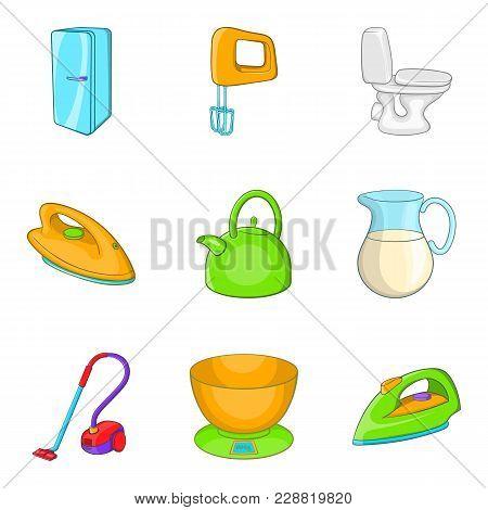 Asylum Icons Set. Cartoon Set Of 9 Asylum Vector Icons For Web Isolated On White Background