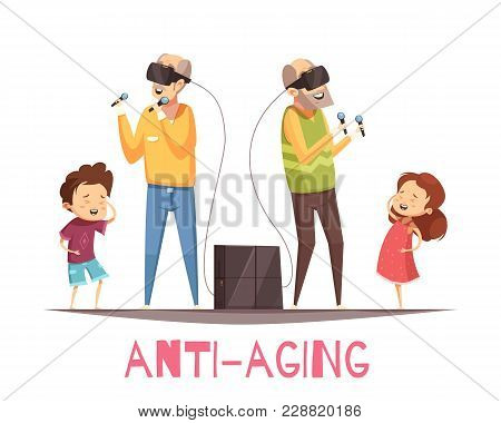 Anti Aging Design Concept With Two Grandparents With Virtual Reality Headset And Their Laughing Gran