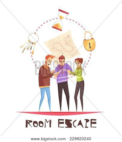 Room Escape Design Concept With Three Adult Gamers Figurines And Lock Clock Keys Cartoon Icons  Vect