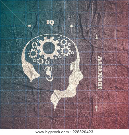 Silhouette Of A Woman Head. Iq And Identity Measuring. Scientific Medical Designs. Connected Gears A